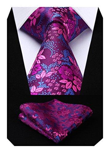 HISDERN Extra largo Floral Paisley lazo del panuelo Hombres Corbata