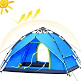ayamaya Pop Up Tent for 3-4 Person, 3 Season Easy Setup Family Camping Tent - Ventilated [2 Doors] [Mesh Window] Quick Ez Set Up Dome Popup Tents (Sky Blue)