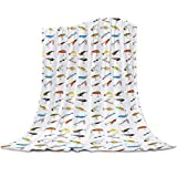 Funy Decor Flannel Fleece Blanket Fishing Tackle Bait Pattern Ultra Soft Lightweight Throw Blankets Fishes Fish Hook Warm Cozy Bed Couch for Travel All Reason, 40x50