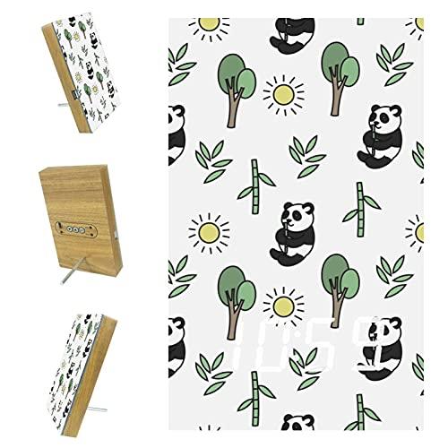 Bennigiry Cute Panda Bamboo LED Digital Relojes de carga USB Despertadores para oficina, cocina, dormitorio, decoración del hogar