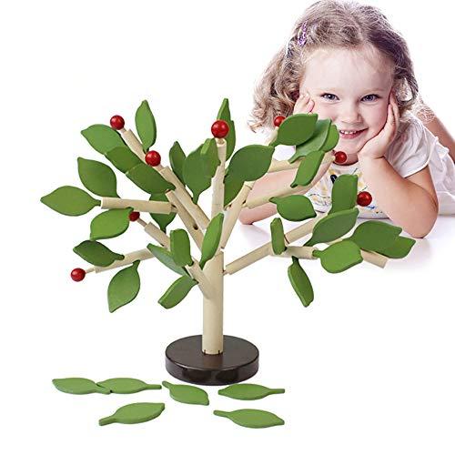 Decdeal houten bouwstenen boom vorm puzzel om te steken & spelen educatief speelgoed voor kinderen
