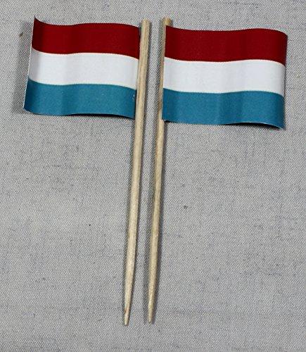 Buddel-Bini Party-Picker Flagge Luxemburg Papierfähnchen in Profiqualität 50 Stück 8 cm Offsetdruck Riesenauswahl aus eigener Herstellung