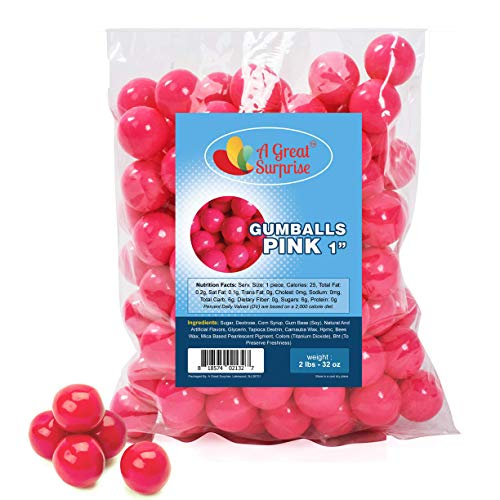 Gumballs in Bulk - Hot Pink - Pink Gumballs for Candy Buffet - Gumballs 1 Inch - Bulk Candy 2 LB