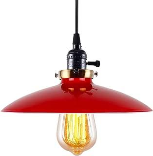LAMPUNDIT Industrial Metal Pendant Light, Vintage Hanging UFO Ceiling Light Fixture for Dining Room, Kitchen, Restaurants, Barn and Shops - Red