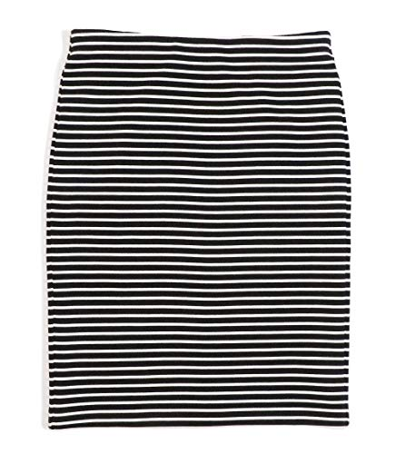Ann Taylor LOFT Women's Ottoman Striped Knit Pull-on Skirt (Large, Black/White)