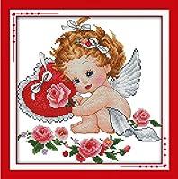 DIY クロスステッチキット、手作り刺繍キット 、図柄印刷 初心者 ホーム装飾 、壁の装飾 、クリスマス プレゼント, かわいい天使の羽 40x50cm
