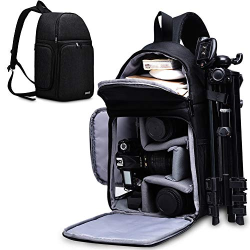 CADeN Camera Bag Sling Backpack for DSLR/SLR Mirrorless Camera Waterproof, Camera Case Compatible for Sony Canon Nikon Camera and Lens Tripod Accessories Black