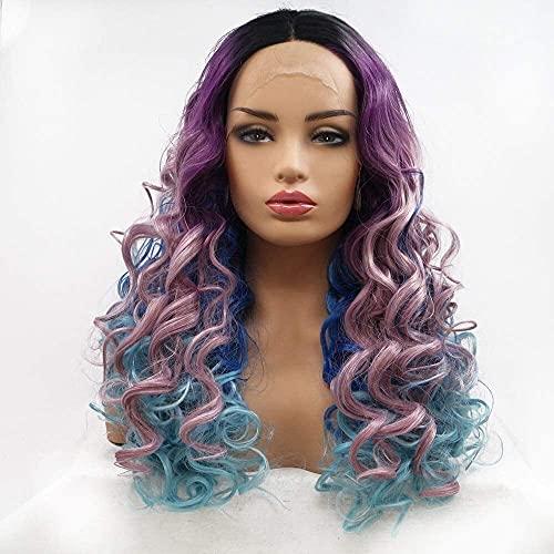 JAOSY Pelucas Peluca púrpura Azul Oscuro gradiente de Pelo Largo Rizado Peluca de Las señoras de Encaje Hecho a Mano Europea y Americana en el Conjunto de Pelo de la Peluca