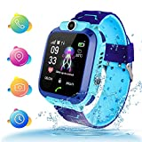 Themoemoe Kids Smartwatch, Kids GPS Tracker Watch Kids Waterproof Smart Watch Phone GPS Tracker with SOS Two Way Call (Blue)