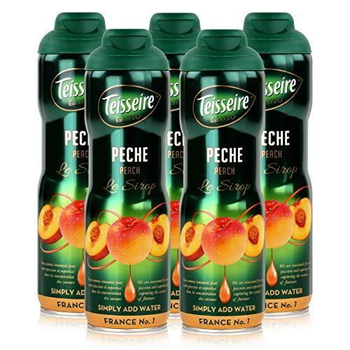 Teisseire Getränke-Sirup Peach/Pfirsich 600ml - Sirup der genauso schmeckt wie die Frucht (5er Pack)
