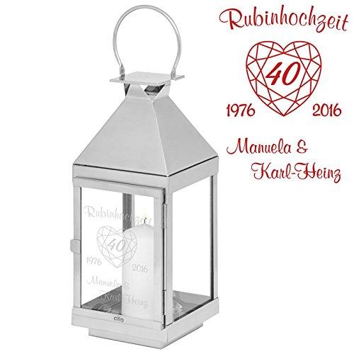 Geschenke 24: Laterne Rubinhochzeit - 45 cm - gravierte Laterne - originelle Idee zum 40. Hochzeitstag - Laterne mit Gravur