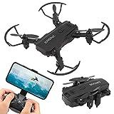 Lazmin112 Cámara de dron de Alta definición 4K Dron Profesional RC Quadcopter Conversión de ángulo de visión de 360 Grados Lente telefoto Diseños Plegables Dron de Control Remoto(Black)