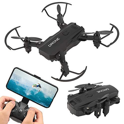 Lazmin112 Telecamera Drone 4K ad Alta Definizione Quadricottero RC Drone Professionale Conversione Angolo di Visione a 360 Gradi Teleobiettivo Disegni Pieghevoli Drone telecomandato(Black)