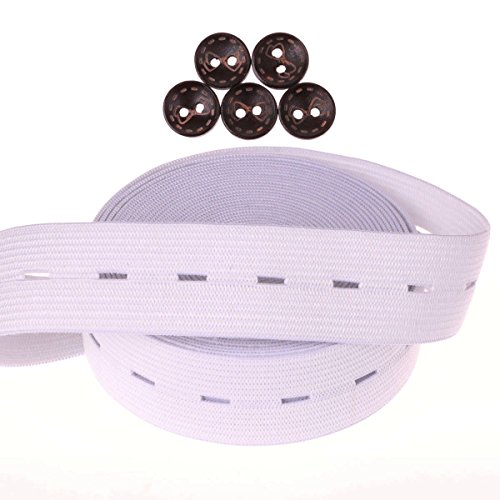 COTOWIN 1 Inch Wide White Buttonhole Elastic 5 Yards