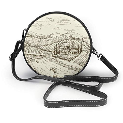 Round Crossbody Wallet,Vineyard Landscape Hand Drawn Vintage Sketch Round Cross-Body Zipper Shoulder Bag Soft Leather Circle Purses For Women's