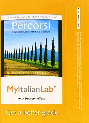 MyLab Italian with Pearson eText -- Access Card -- for Percorsi: L'Italia attraverso la lingua e la cultura (multi-semes