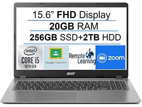 Newest Acer Aspire 3 15.6' FHD 1080P Laptop Computer, 10th Gen Intel Quad-Core i5 1035G1 (Beats i7-7500u), 20GB DDR4 RAM, 256GB SSD+2TB HDD, Webcam, HDMI, WiFi, Bluetooth, Windows 10, AllyFlex MP