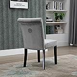 ZHBH Patas de muebles triangulares ajustables Silla de comedor, terciopelo gris con respaldo cromado y respaldo alto, asiento tapizado con tachuelas tipo S