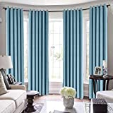 TWOPAGES Loft Curtains, 144 Inch Long Velvet for Loft Thermal Insulated Curtains for Living Room/Bedroom Blackout Window Drape (MJ11-63 Sky Blue 1 Panel 50Wx144L)