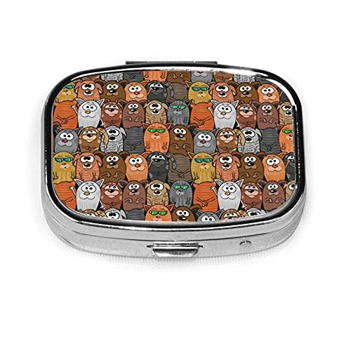 Cartoon Cats And Dogs Custom Fashion Silver Square Pill Box Medicine Tablet Holder Wallet Organizer Case For Pocket Or Purse Vitamin Organizer Holder Decorative Box