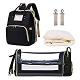 Diaper Bag Backpack with Changing Station, Portable Travel Bassinet Auto Folding Crib Bed, Baby Nappy Changing Bags, Waterproof Mommy Bag, Infant Sleeper Nest with USB Charging Port