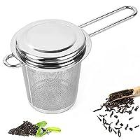 acciaio inossidabile filtro per tè infusore, filtro da tè per teiere, infusore da tè colino da tè, setaccio filtro tè con coperchio e manico doppio, per tisane, tè sfuso, teiere
