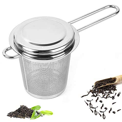 Edelstahl Teesieb, Teefilter mit Deckel, Premium Teesieben, Wiederverwendbare Edelstahl Teesieb, Teesieb Teefilter/Abtropfschale Passend für Teekannen, Tee-Tassen
