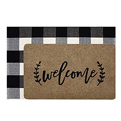 JOOJA Welcome Mat, Welcome Doormat Outdoor Rug + Buffalo Plaid Layered Rug, Non Slip Entryway Indoor Outdoors Mats, Brown