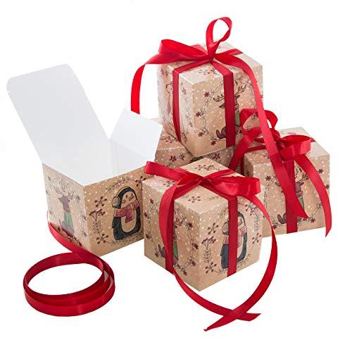 Logbuch-Verlag 5 kleine Geschenkboxen MIT SCHLEIFE rot Tiere Weihnachten Geschenkschachtel Verpackung 10 x 10 cm Box Schachtel für Weihnachtsgeschenk Kinder give-away