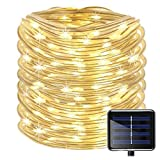 Outdoor Solar Rope Lights 8 Lighting Modes 100 LED(33ft) Waterproof Copper Wire String Fairy Christmas Lights Ideal for Christmas Tree Halloween Garden Patio Bedroom Wedding Decorations(Warm White)