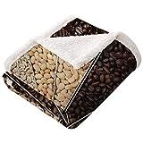 LANQIAO - Manta de terciopelo de lana de café, muchas variedades de granos tostados con esquema de color oscuro, sabor fuerte, súper suave y cómoda, cálida manta de cordero beige, marrón, marrón...