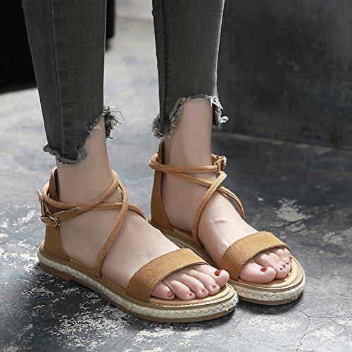 YMFIE Old Fashion Confortable à Fond Plat antidérapant Toe Sandales Lady Chaussures de Plage.