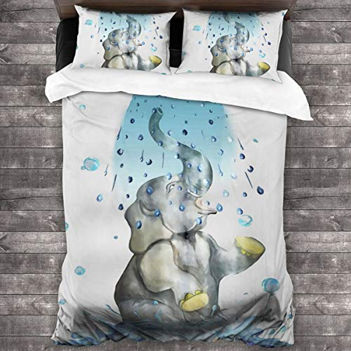 AUISS King Size Bedding Set Elephant Bathing Quilt Cover Bedroom Comforters Microfiber Sheet Two Pillowcase Ultra Soft Bedspread Coverlet Hotel Full Bedding Set