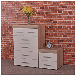 Sonoma oak effect chest of 4+2 drawers and matching 2 drawer bedside table with white drawer fronts, from the Perth range, exclusively by DRP Trading. Drawers run on metal runners and units are finished with plastic silver coloured handles and feet. ...