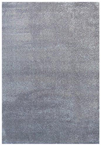 Livone Hochwertiger Jugendteppich Kinderteppich Baby Teppich Kinderzimmer Uni einfarbig in Silber grau Größe 120 x 170 cm