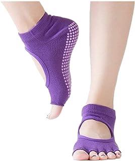 Fannyfuny Medias Mujeres Calcetines de Yoga con Punta Abierta Antideslizantes Separados Calcetines de Cinco Dedos con Espalda Abierta Antideslizantes para los Dedos