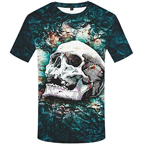 T-Shirt 3D Creativo Camiseta para Hombre,Impresión 3D - Calavera Blanca,Verano Casual Manga Corta tee-Shirt Ocio Manga Corta para Bar Carnival Beach Party,XL