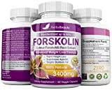 Forskolin 100% Pure Extra Strength 3400mg (60 Veggie Capsules) for Weight Loss. Natural Diet Pills Targets Stubborn Fat for Women & Men w/20% Standardized Coleus Forskohlii Root Extract
