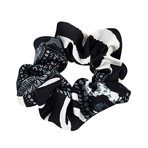 Stirnbänder Damen Elastisches Haar Seil Ring Krawatte Scrunchie Pferdeschwanz Inhaber Haarband Stirnband Bunte Blumenmuster(Schwarz,free)