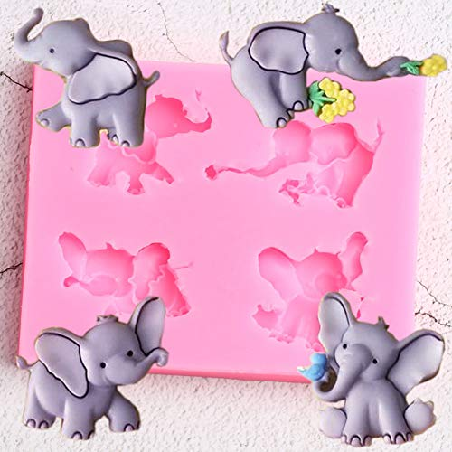 ZHQIC 3D Elephant Silicone Mold Rose Flower Birds Candy Chocolate Molds DIYBirthday Cupcake Topper Fondant Cake Decorating Tools