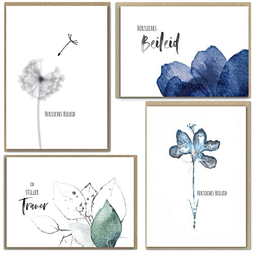 beriluDesign® Trauerkarten mit Umschlägen, 8 Klappkarten und 8 Briefumschläge aus Kraftpapier