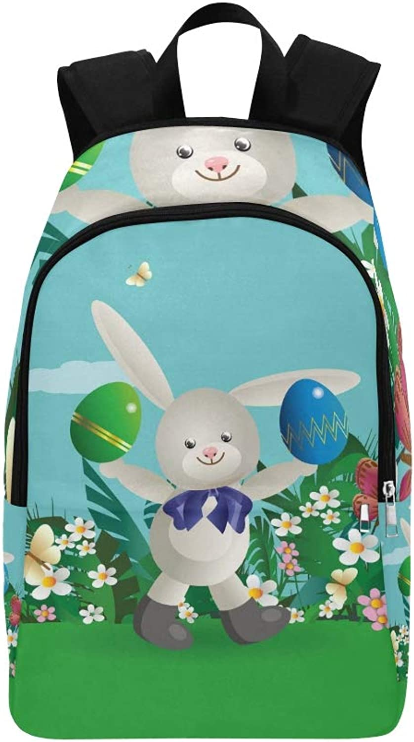 Easter Bunny 5 Casual Daypack Travel Bag College School Backpack for Mens and Women