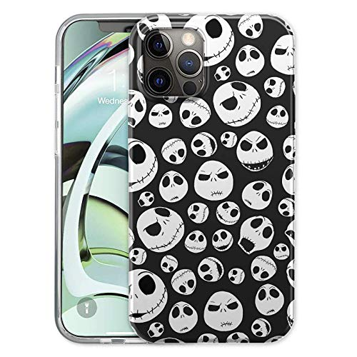 Black TPU Shockproof Protection Cover Case for iPhone 12/12 Pro(2020)6.1 inch, for Nightmare Before Christmas Jack Skellington Built-in Screen Protector Cover(iPhone 12/12 Pro Case, Jack Skellington)