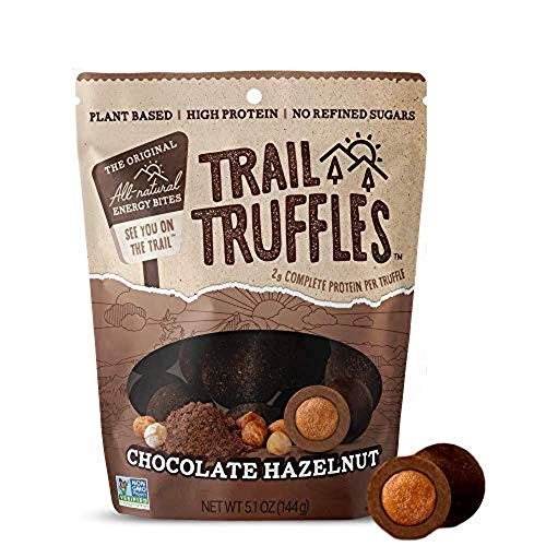 TRAIL TRUFFLES – Dark Chocolate Nut-Butter Filled Protein Bites – Healthy, Plant Based, Gluten Free, Dairy Free, Soy Free, Non-GMO Snacks (Chocolate Hazelnut, 4 Pack)