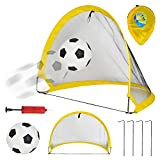 likeitwell Ensemble de But de Football Pop Up, Lot de 2 buts de Football + 1 Ballon de Football + 1 Pompe +4 Soufflets et Sac de Transport, Grande Taille 68cm, Pliable, Jouet de Sport pour Enfants
