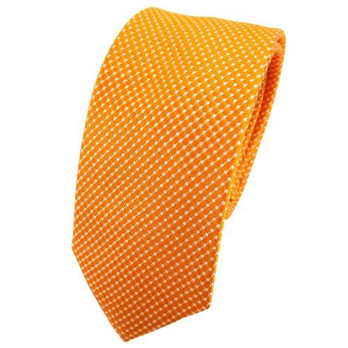 TigerTie - corbata de seda estrecha - naranja plata lunares