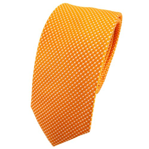 TigerTie - schmale Designer Seidenkrawatte in orange silber gepunktet