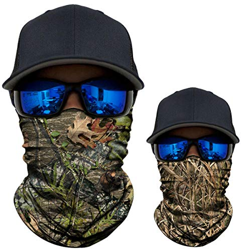 AXBXCX 2 Pack - Camouflage Print Seamless Neck Gaiter Bandana Face Shield Mask Headband Headwear Sweatband Wristband Scarf for Fishing Hiking Hunting Cycling Motorcycle Skiing Outdoor Sport 5152