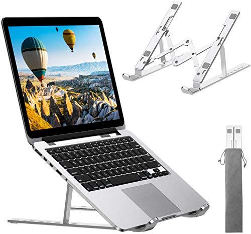 Soporte ergonómico ajustable para ordenador portátil, soporte de aluminio ventilado elevador portátil plegable compatible con MacBook Pro Air y Asus Samsung HP Dell Acer de 9 a 15,6 pulgadas