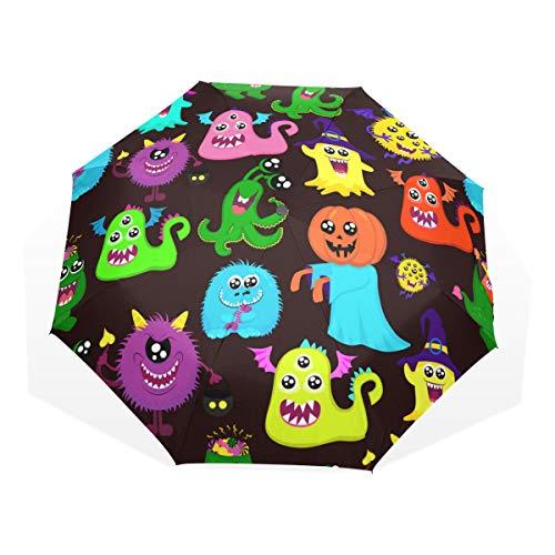 LASINSU Regenschirm,Abstraktes Halloween für Mädchen Jungen mit dem vielen Hellen Monster Kürbis einäugig,Faltbar Kompakt Sonnenschirm UV-Schutz Winddicht Regenschirm